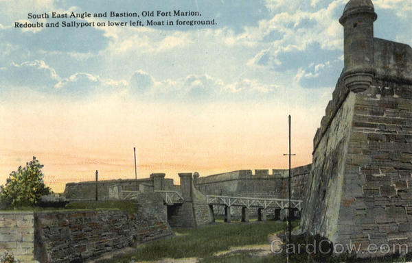 South East Angle and Bastion, Old Fort Marion, Redoubt and Sallyport on lower left, Moat in foreground.