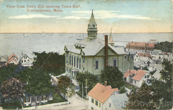 View from Town Hill Showing Town Hall Provincetown Massachusetts