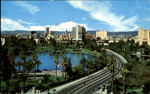 World-Famous Wilshire Blvd. And Beautiful McArthur Park Los Angeles California