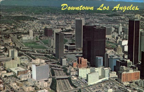 Aerial View Of Downtown Los Angeles And The Harbor Freeway California