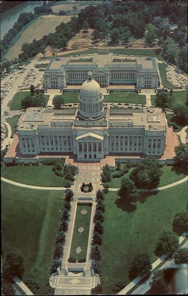 Aerial Of State Capitol And Annex Frankfort Kentucky