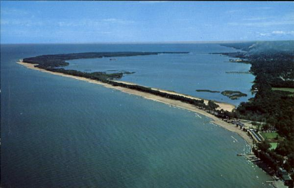 Aerial View Of Presque Isle Peninsula Erie Pa