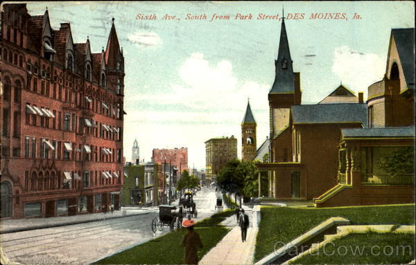 Sixth Ave., South From Park Street, 6th Ave Des Moines Iowa