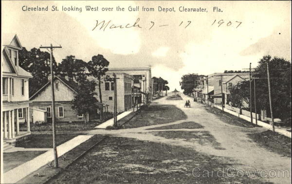 Cleveland St. Looking West Over The Gulf From Depot Clearwater Florida