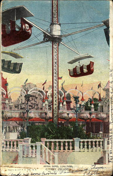Aerial Swing Luna Park Coney Island New York Amusement Parks