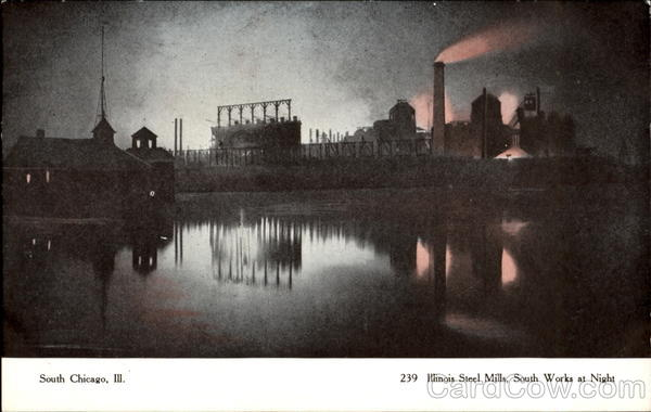 Illinois Steel Mills South Works At Night Chicago