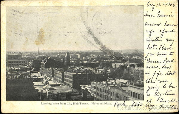 Looking West From City Hall Tower Holyoke Massachusetts