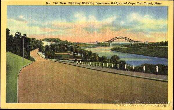 The New Highway Showing Sagamore Bridge And Cape Cod Canal Massachusetts