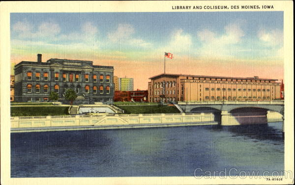 Library And Coliseum Des Moines Iowa
