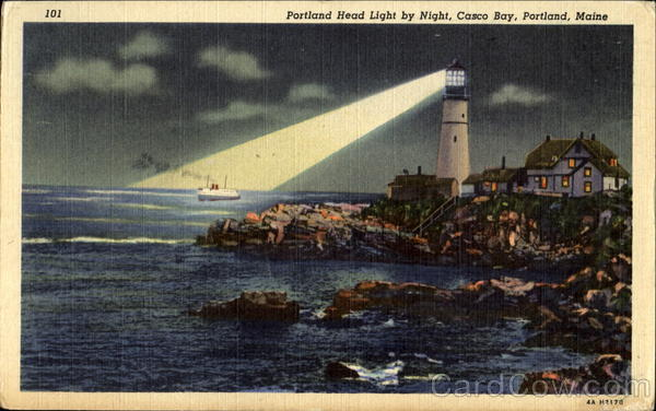 Portland Head Light By Night, Casco Bay Maine