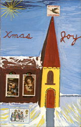 Xmas Joy Stamp Church Postcard