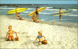 "Surfers, ""Ready For Action"" On Cape May's Surfing Beach"