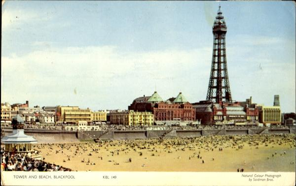 Tower And Beach Blackpool Lancashire England