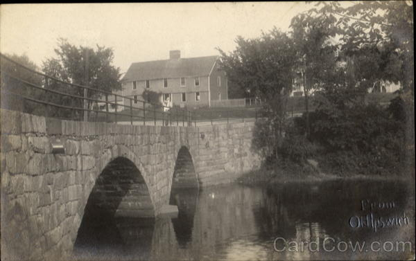Bridge over water view of house from OldIpswich Buildings