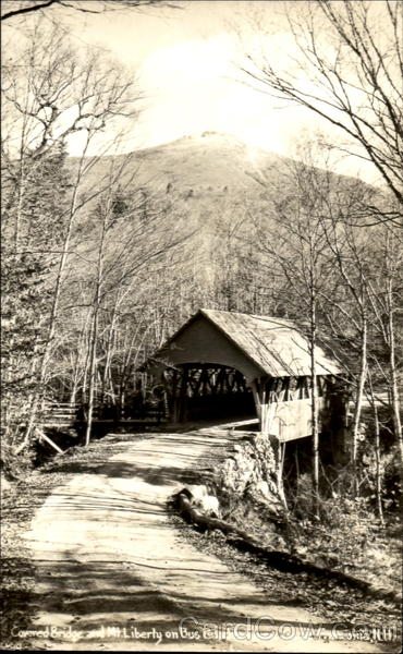 Covered Bridge And Mt. Liberty On Bus Road Franconia New Hampshire