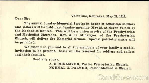 1919 Soldiers and Sailors Memorial Notice Military