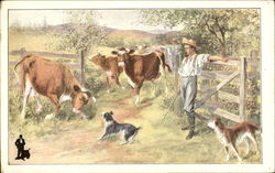 Cows, Pasture, Dogs, Farmers