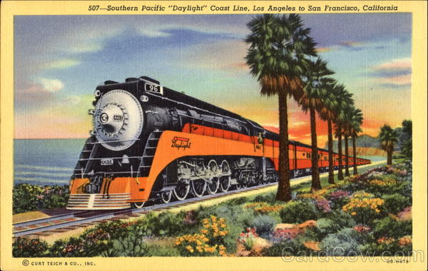 Southern Pacific Daylight Coast Line California Trains, Railroad