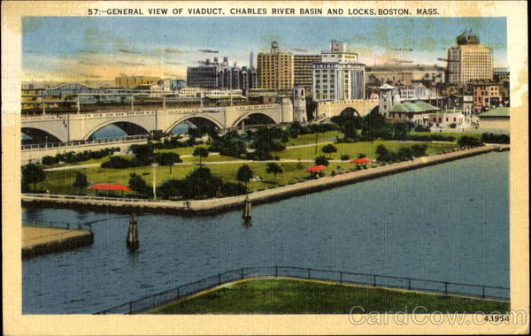 General View Of Viaduct, Charles River Basin And Locks Boston Massachusetts