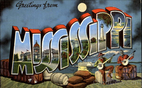 Greetings From Mississippi Large Letter