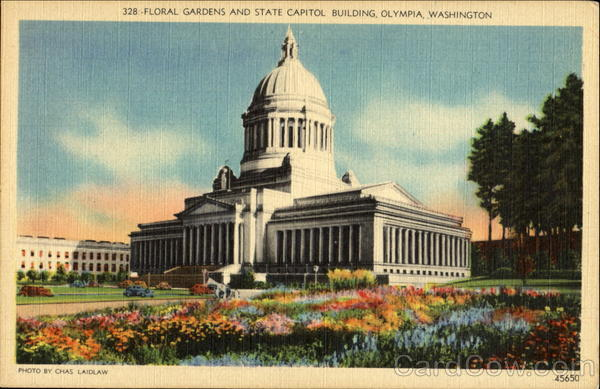 Floral Gardens And State Capitol Building Olympia Washington