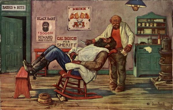 Barber Bart : Black Bart Barber Cowboy Western Barbers