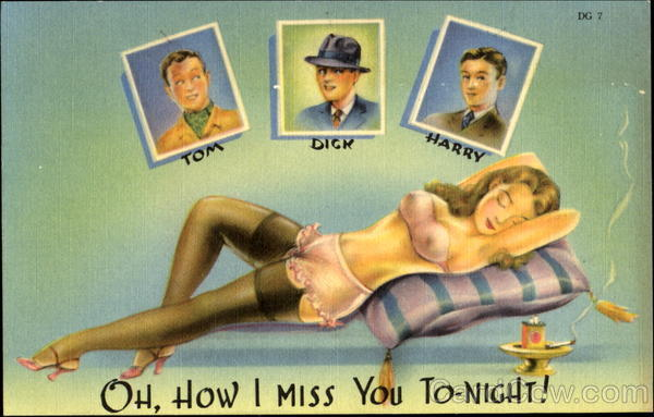 Oh How I Miss You To-Night! Risque & Nude