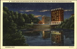 Night Scene On Mahoning River Showing Second National Bank And Mahoning Building