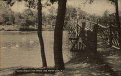 Rustic Bridge Over Spring Lake Postcard