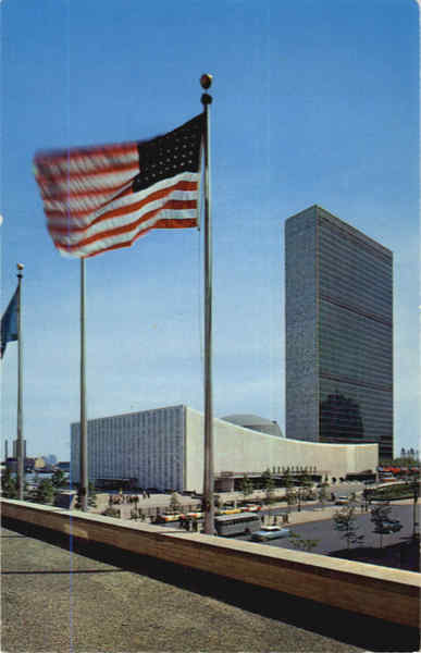 United Nations Buildings With Old Glory Waving Proudly New York City