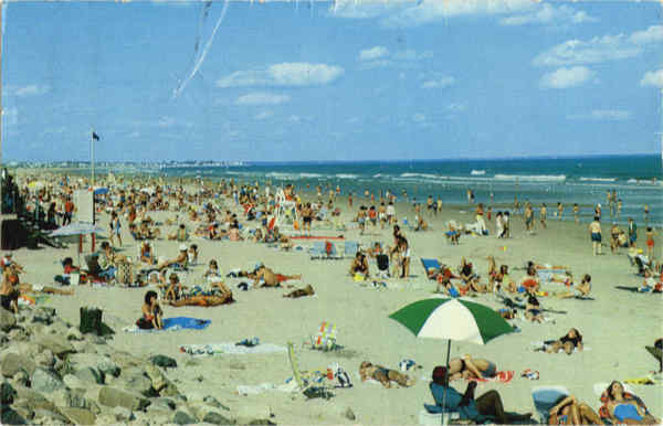 Portion of Ogunquit's famous three mile white sand beach Maine