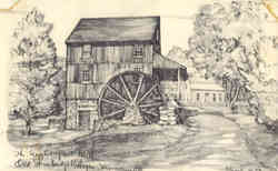 Wight Grist Mill, Old Sturbridge Village Postcard