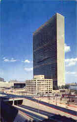 A view of the United Nations Headquarters looking north
