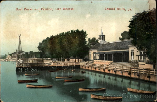 Boat Docks And Pavilion, Lake Manava Council Bluffs Iowa