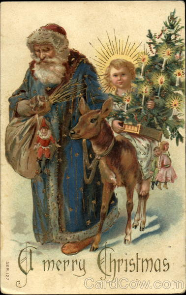 Santa with Blue Robe - Anel with Tree, Reindeer Santa Claus