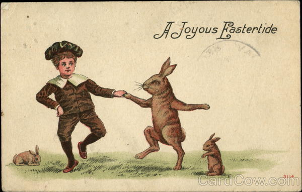 A Joyous Eastertide Dancing Rabbit With Bunnies