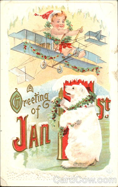 A Greeting Of Jan 1st Baby Airplane Polar Bear New Year's