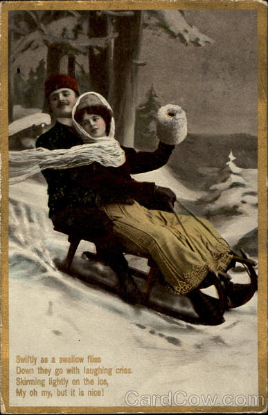 Couple Sledding Winter Romance & Love