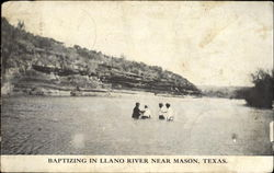 Baptizing In Llano River Near Mason Postcard