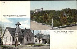 Baptist Church And Parsonage City Park And M. E. Church Postcard