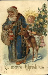 Santa with Blue Robe - Anel with Tree, Reindeer