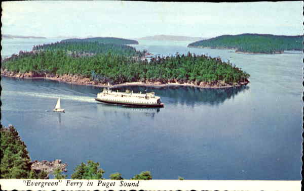 Evergreen Ferry In Puget Sound Washington