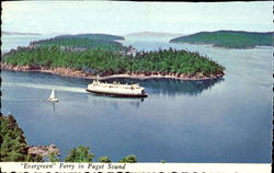 Evergreen Ferry In Puget Sound Postcard