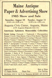 Maine Antique Paper & Advertising Show 1985 Show And Sale