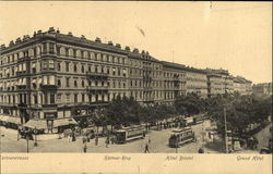People and trams in the city of Vienna Postcard