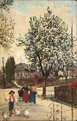 Blooming tree, two women and a little boy with three geese