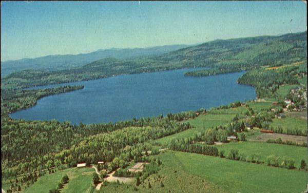 Aerial View Of Caspian Lake And Country Club Greensboro Vermont