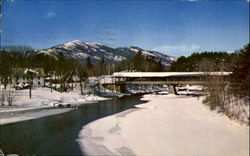 Covered Bridge And Moat Mountain Range From Saco River