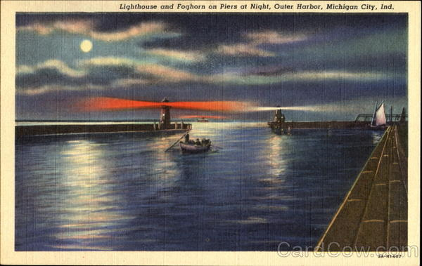 Lighthouse And Foghorn On Piers At Night, Outer Harbor Michigan City Indiana