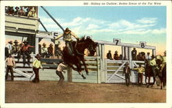 Riding An Outlaw Rodeo Scene Of The Far West